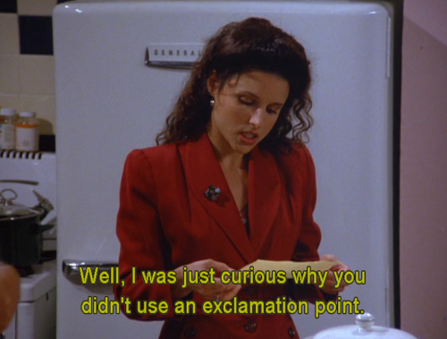 Image result for seinfeld exclamation point quote